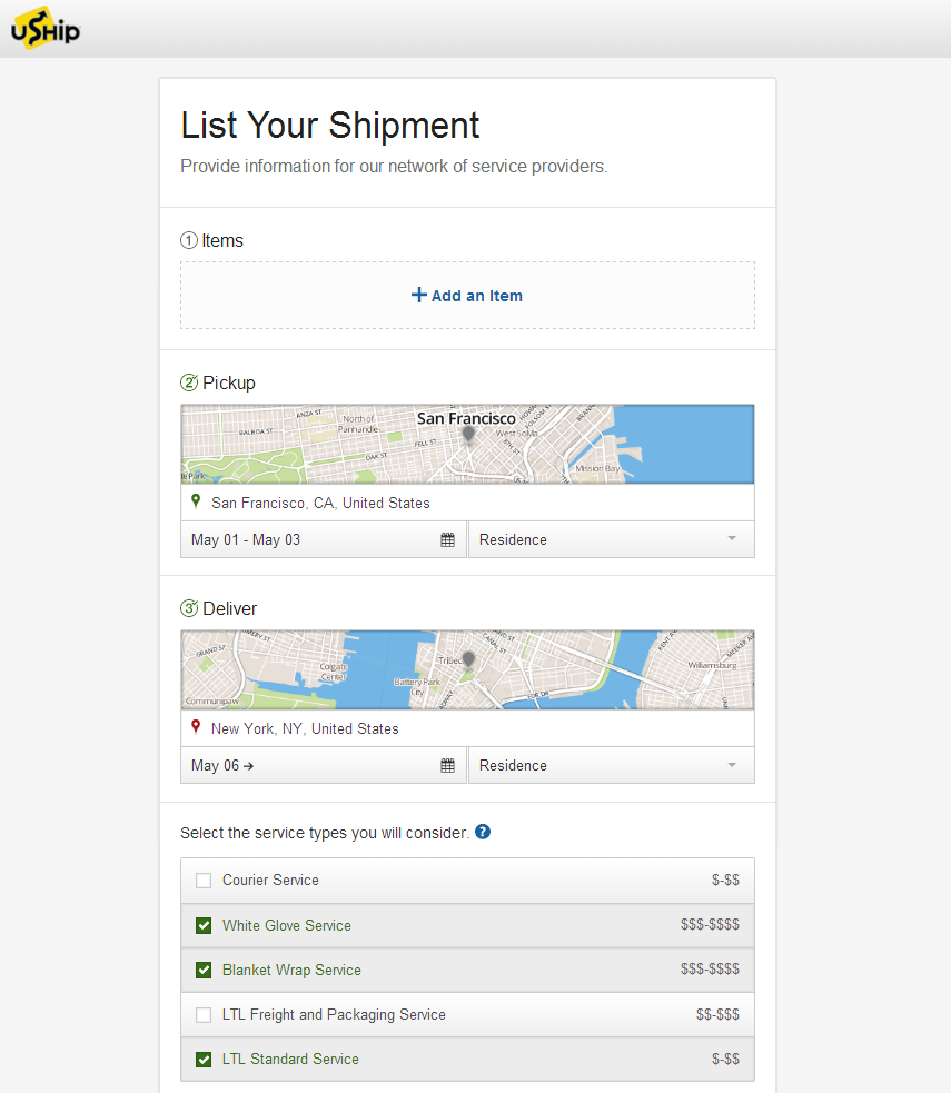 List a Household Goods Move on uShip Web - Furniture Example