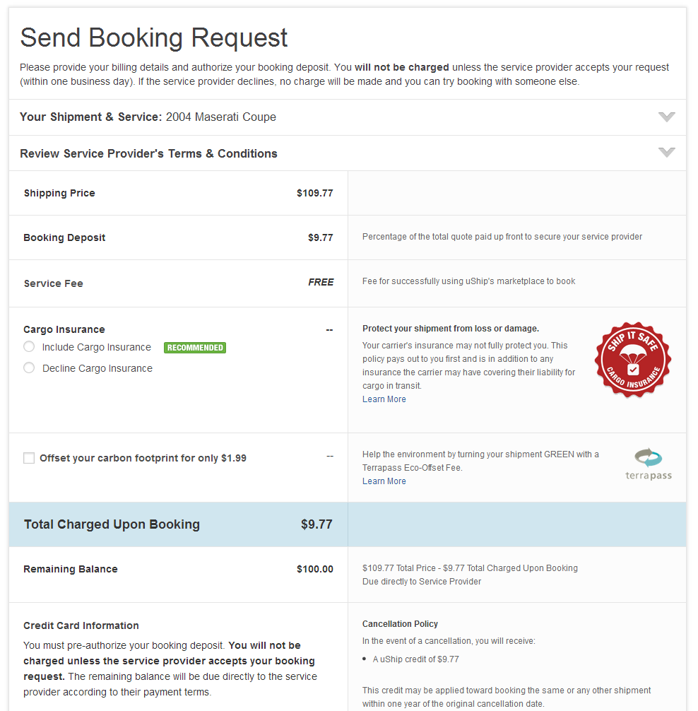 Send Booking Request Example